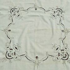 STUNNING VINTAGE EMBROIDERED CUTWORK LUNCHEON TABLECLOTH W/ NAPKINS 33''X33''