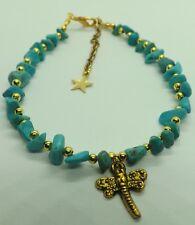 Perle Turchese Oro Tonalità Libellula Ciondolo Cavigliera braccialetto alla caviglia Cavigliera Zingara