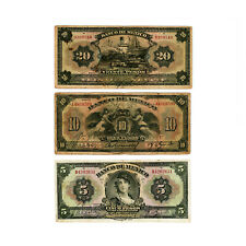Set of 3 different Mexico 5, 10, 20 1934 Pesos Abt. Vg to F -holes, small tears