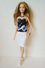 Fits TALL Body BARBIE DOLL CLOTHES Top White Skirt & Jewelry Fashion NO DOLL d4e