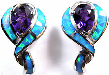 Amethyst and Blue Fire Opal Inlay Solid 925 Sterling Silver Stud, Post Earrings