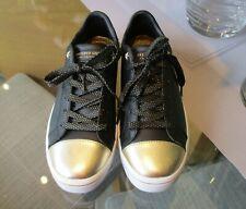 Skechers Street Hi Lite Metallic Vamp Lace Up Trainer Black/Gold New UK 6