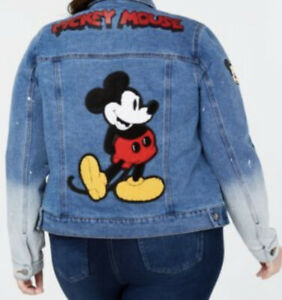 Disney 2X Mickey Mouse Denim Jacket Stretch Distressed Ombré Macys Exclusive