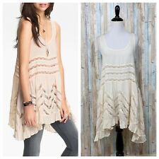 Free People XS Intimately Cream Dot Voile Lace Panel Tunic Tank Slip