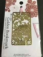 Golden Bookmark Shiori Metal Sakura Fujisan Mt Fuji D002 Japanese MADE IN JAPAN