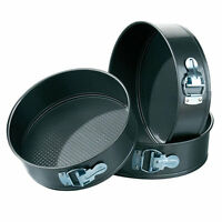 3pc Non-Stick Baking Springform Round Cake Tin Tray Pan Set Kit Spring Loaded