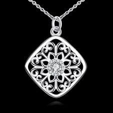 Elegant 925 Sterling Silver Filled SF Filigree CZ Pendant Necklace N-A610 Gift