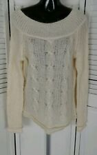 REFERENCE POINT WHITE W/GOLD LUREX LONG SLEEVE ROUND NECK SWEATER WOMENS SIZE(L)