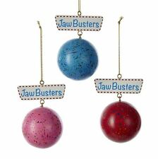 "A1714 2.75"" Set/3 Jaw Busters Breakers Candy Christmas Ornament Blue Red Pink"
