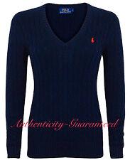 Ralph Lauren Women's Ladies Cable Knit Cotton V Neck Jumper Navy Xs-xl XS