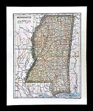 1903 Dodd Mead Map - Mississippi Jackson Vicksburg Biloxi Natchez Tunica Tupelo
