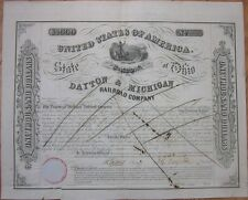 Large 1853 Bond Certificate: Dayton & Michigan Railroad Company, Native American