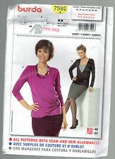 BURDA pattern 7592 TOP blouse jersey Sz 10 12 14 1618 20 22 uncut unused