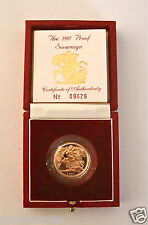 1987 REGINA ELISABETTA II GOLD FULL Proof Sovereign con box & COA