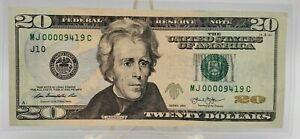 2013 Series Banknote $20 Dollar Bill Low Serial Number 00009419