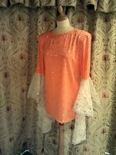 Drag Queen Bright Orange SHORT dress with full white oval  sleeves 14/16
