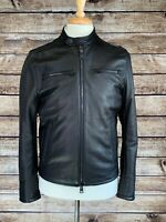 NWT Brett Johnson Deerskin Leather Jacket Small Black Moto Cafe Racer MSRP $1990