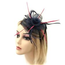 Beautiful Navy Blue Pink Rosette Fascinator on Flexible Headband with Feathers