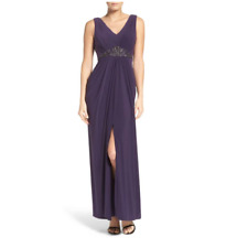 ADRIANNA PAPELL EMBELLISHED JERSEY PLUM GOWN DRESS sz 12
