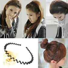 Black Unisex Wavy Hair Head Hoop Band Fashion Mens Women Sport Headband Hairband
