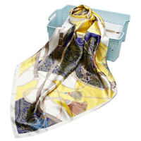 "Women's Fashion Yellow Print Square Scarf Soft Satin Shawl Hijab Scarves 35""*35"""