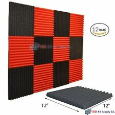 "12 Acoustic Wall Panels Sound Deadening Foam Material Pads Tiles 1"" X 12"" X 12"""