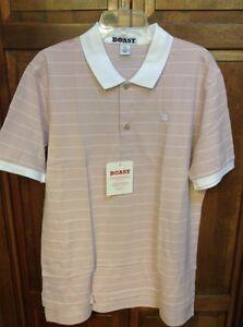 BOAST USA Men Large L Polo Shirt Peruvian Cotton Pink White Striped Pique NWT