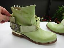 BIONDINI SHOES Damen Schuhe Stiefeletten Leder Gummizug Grün Italy Gr.36 TOP
