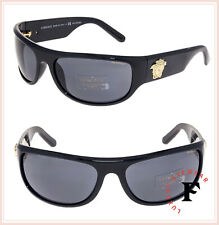 f70d2f5d8de98 VERSACE Men Gold Medusa Wrap Sunglasses VE4276 Shiny Black Polarized 4276
