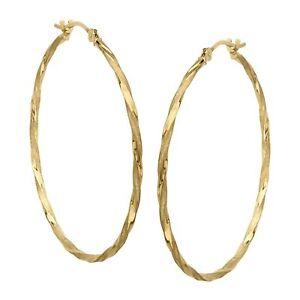 Eternity Gold Twisted Hoop Earrings in 14K Gold