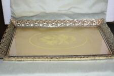 Antique Vintage Rose PICTURE FRAME REtro Hollywood Era Vanity Perfume Tray