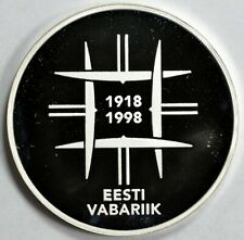 Estonia 1998 silver proof 10K 80th Anniv. of Statehood