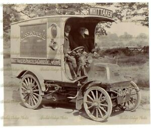 EARLY MOTOR PHOTO WHITTAKERS OF NUNEATON 1903 DELIVERY VAN VINTAGE C.1908