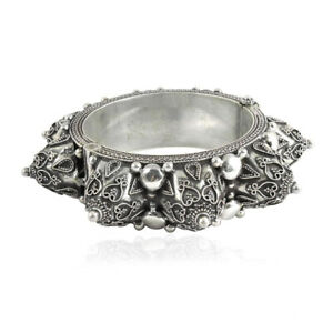 HANDMADE 925 Solid Sterling Silver Jewelry Oxidized Bangle Y19