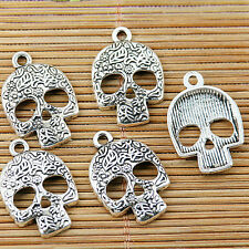 10pcs tibetan silver color pattern skull faced design charms EF1442