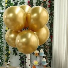 """25 Chrome Gold 12"""" Round Metallic Latex Balloons Party Wedding Event Decorations"""