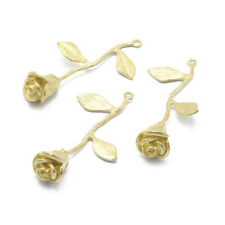 30pcs Brass Pendant Rose Unplated Jewelry Finding Charm Necklace Making Chain