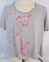 Oleg Cassini Embellished Gray Floral Top Blouse Shirt - Women's 2X - E171