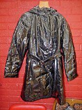 Dennis Basso hi gloss shiny black wet look PVC vinyl raincoat hood & belt