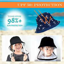 Kid's Bucket Hat Cotton Beach Sun Hat Removable Clear Face Shield Windproof Cap