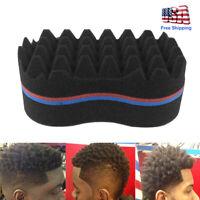 Double Side Barber Hair Brush Sponge Lock Afro Curl Twist Dreads Coil Wave Foam