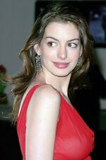 Anne Hathaway 11x17 Mini Poster Looking To Side Wearing Red Dress