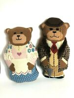 2 Handmade Needlepoint Mr. and Mrs. Bear Pillows 3 Dimensional Various Stitches