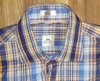 Peter Millar Mens Oxford Shirt Blue Plaid Size Small