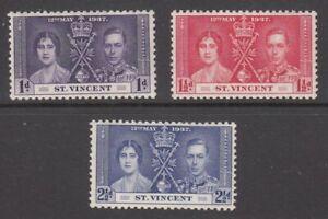 1937 St Vincent Coronation of King George V set of 3 mint stamps