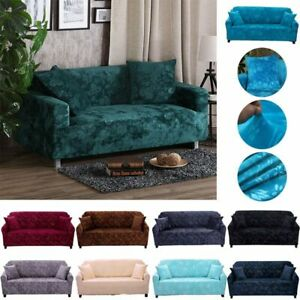 1-4 Seater Stretch Velvet Sofa Cover Slipcover Settee Couch Protector Slipcover