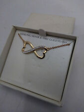 Crystal Infinity Heart Necklace Sterling Silver 18KT Gold Flash Plated