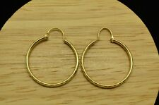 10K YELLOW GOLD ETCHED DESIGN HOLLOW ROUND HOOP EARRINGS 28mm