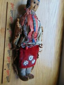 Fancy Antique Native American Doll- hand made- male- lots of beading- leather