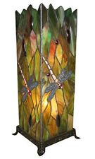46CM TIFFANY STYLE TABLE LAMP DRAGONFLY DESIGN SQUARE GLASS SHADE + LIGHT BULBS